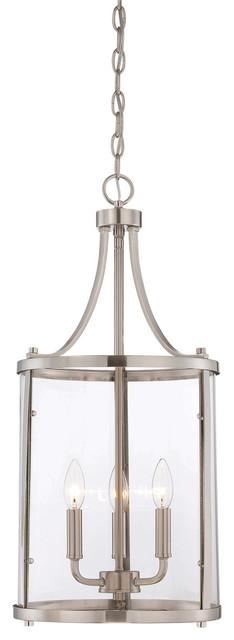 Penrose 3-Light Foyer Pendants, Satin Nickel.