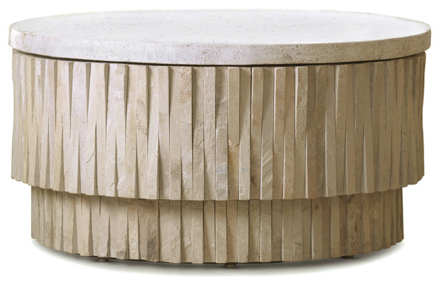 Rajasthan Global Bazaar Terrazzo Stone Round Coffee Table Eclectic Coffee Tables