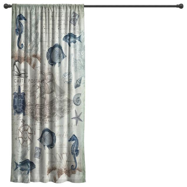 "Laural Home Seaside Postcard Sheer Window Curtain, 84"""
