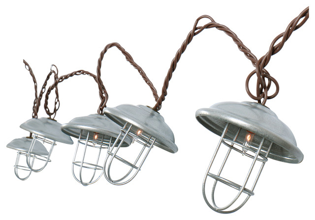 Metal Patio String Lights : Metal Cage String Lights - Industrial - Outdoor Rope And String Lights - by DEI