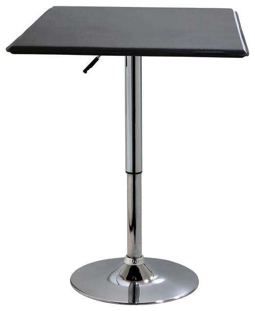 Square Bistro Table, Silver And Black.