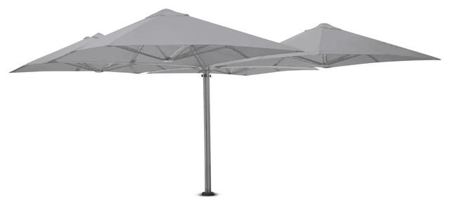 "9&x27;10"" Square Quattro Slate Gray Umbrella, Ground Anchor And Led Lights."