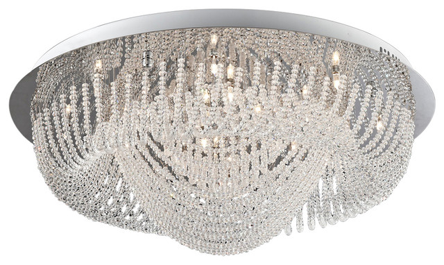Crystal Flush Mount Lamp, Chrome And Crystals.