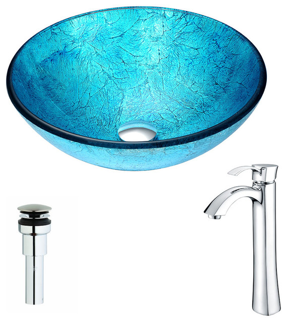 Anzzi Accent Series Deco-Glass Vessel Sink With Harmony Faucet, Polished Chrome.