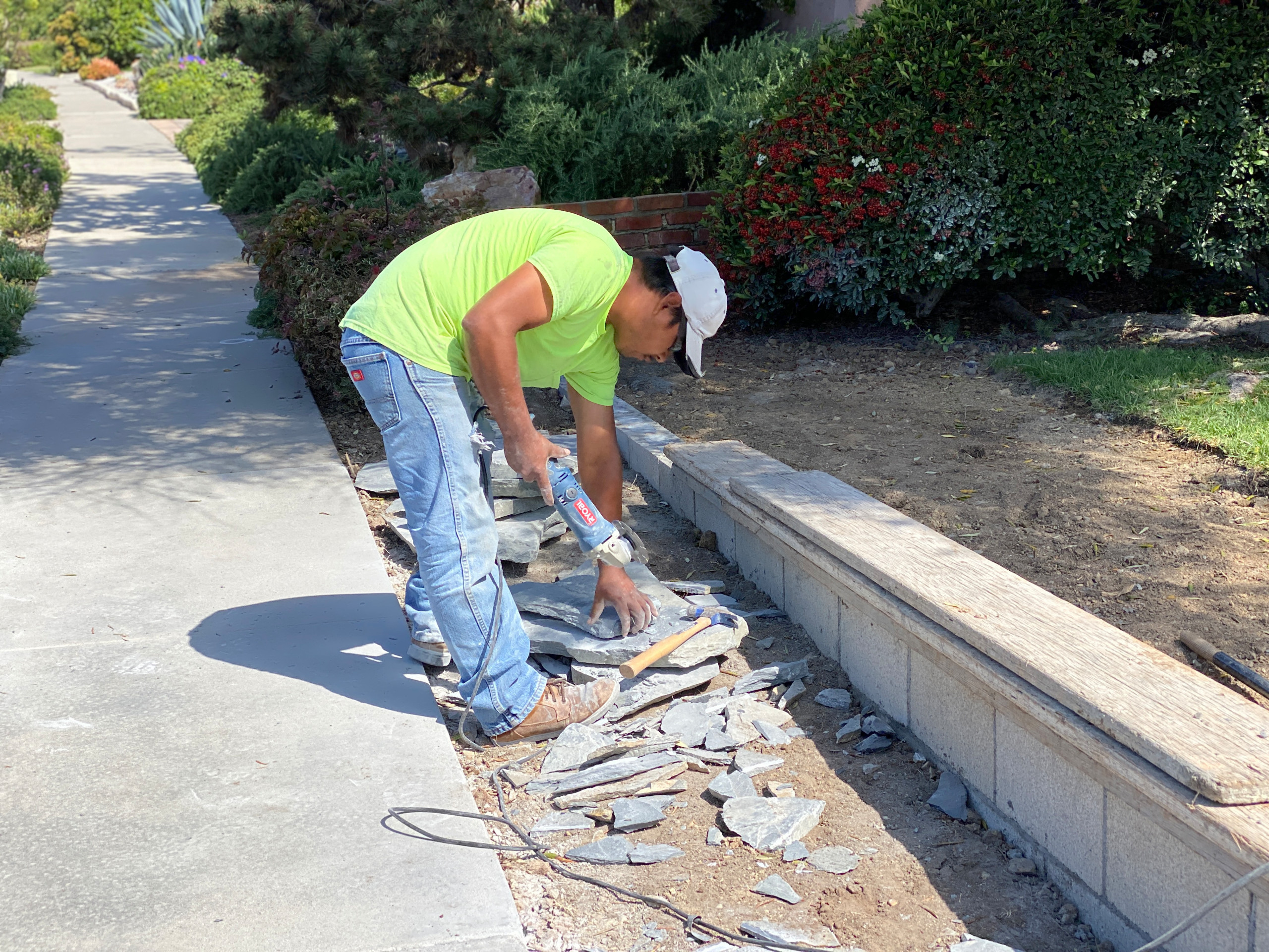 Cutting Flagstone for a Driveway Inlay