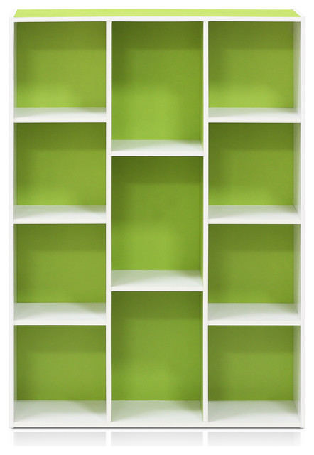 11107 White Green 7 Cube Reversible Open Shelf Bookcase Contemporary Bookcases By Furinno