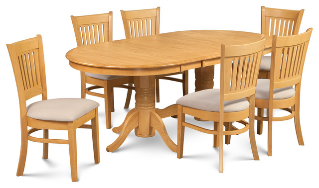 dining room sets with leaf   7 Piece Dining Room Set Table With A Leaf And 6 Dining ...