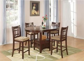 Coaster Lavon 5-Piece Counter Height Dining Set, Warm Brown