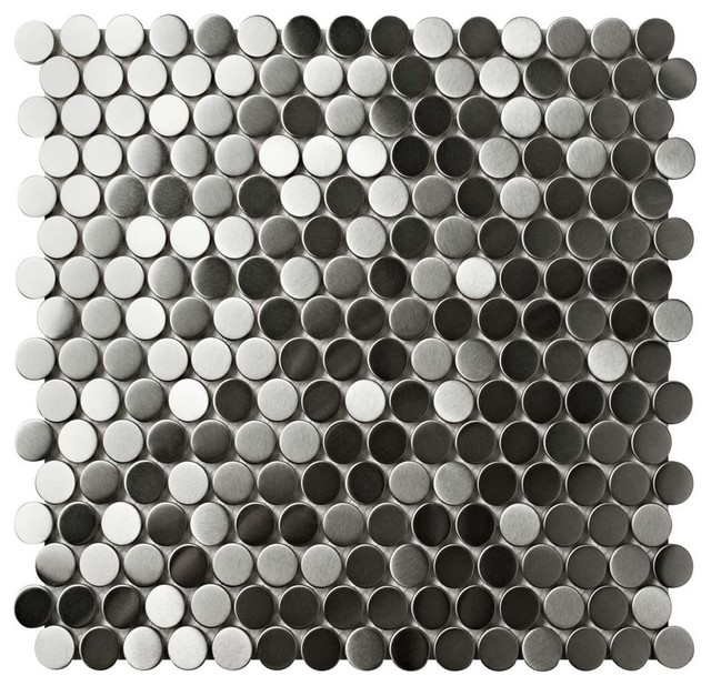 Chromium Stainless Steel Over Porcelain Mosaic Wall Tile Penny