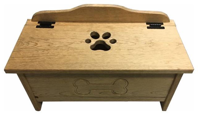 Swell Stained Pine Medium Dog Toy Storage Box With Bone And Paw Print Spiritservingveterans Wood Chair Design Ideas Spiritservingveteransorg