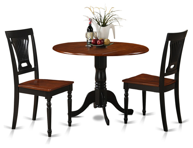 East west furniure 42 round table dining set with 9 for Black round dining table with leaf