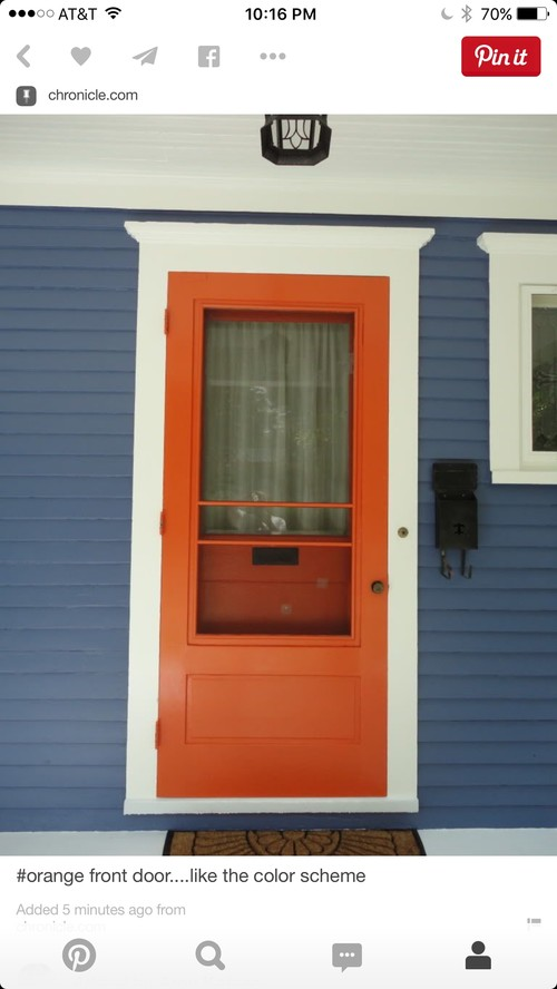 Orange door and blue house with white trim. Hardware style / color?
