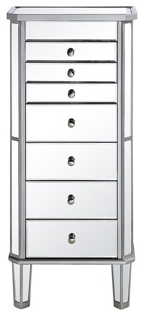 """7 Drawer Jewelry Armoire L18""""W12""""H41"""" Silver Clear, Silver/Clear Mirror, - Transitional ..."""