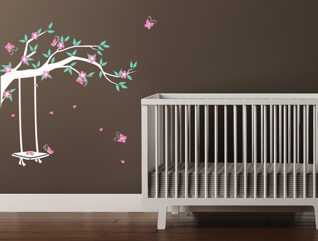 Garden Swing Wall Decal Flowering Branch Contemporary Wall