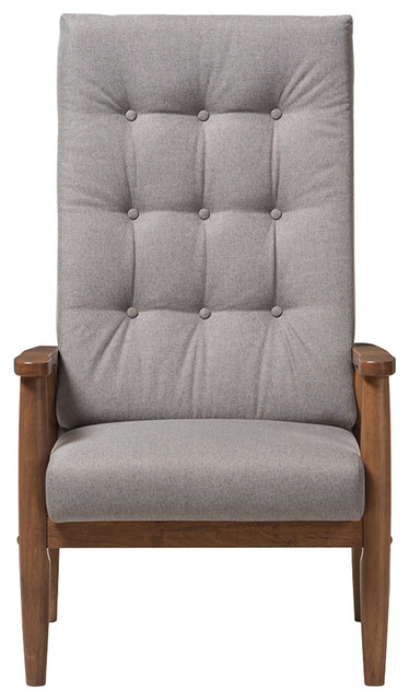 Stupendous Walnut Brown Finish Wood Gray Fabric Upholstered Button Tufted High Back Chair Dailytribune Chair Design For Home Dailytribuneorg