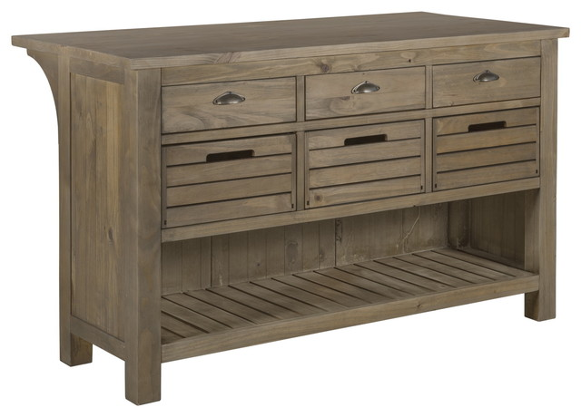 Elmwood Park Rustic Wood Kitchen Island with Removable Crates