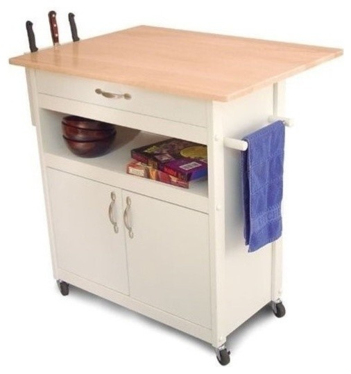 Pemberly Row Butcher Block Kitchen Cart in White