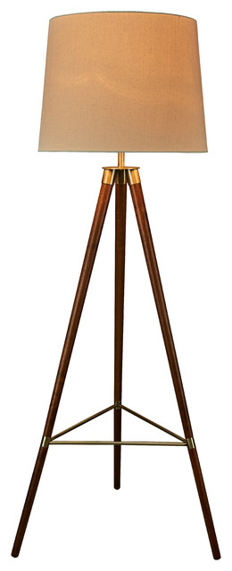 Taylor Tripod Floor Lamp, Antique Brass, Mid-Century, Antique Brass & Wood.