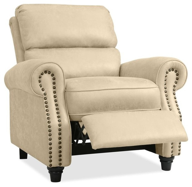 Prolounger Push Back Recliner Chair, Latte Tan Distressed Faux Leather
