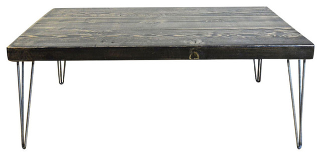 2 5 Thick Coffee Table Reclaimed Wood Hairpin Legs 24x36x18 Clear Coat