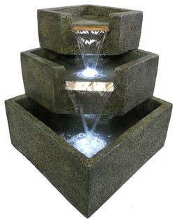 Smart Solar   Cascadia Falls Electric Corner Fountain With Ledu0027S U0026 Reviews  | Houzz