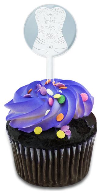 Bride Cupcake Toppers Picks Set.