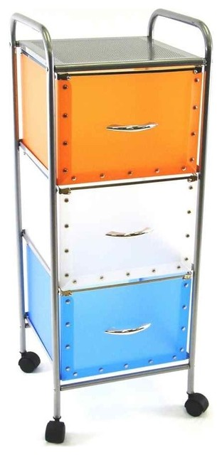 3 Drawer Multi-Colored Rolling Cart - Filing Cabinets - by ShopLadder