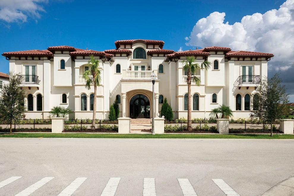 Inspiration for a mediterranean home design remodel in Orlando