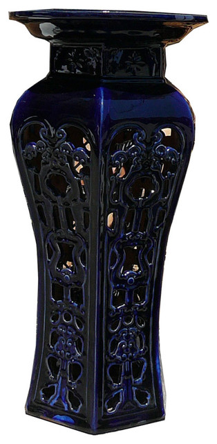Ceramic Clay Navy Blue Round Tall Pedestal Stand Side