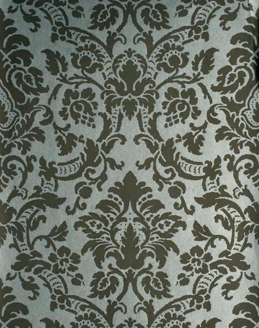 Isis brown paisley damask wallpaper traditional for Wallpaper traditional home