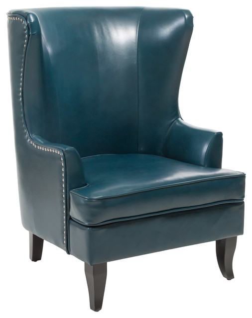 Jameson Tall Wingback Leather Club Chair, Teal Blue Contemporary  Armchairs And Accent