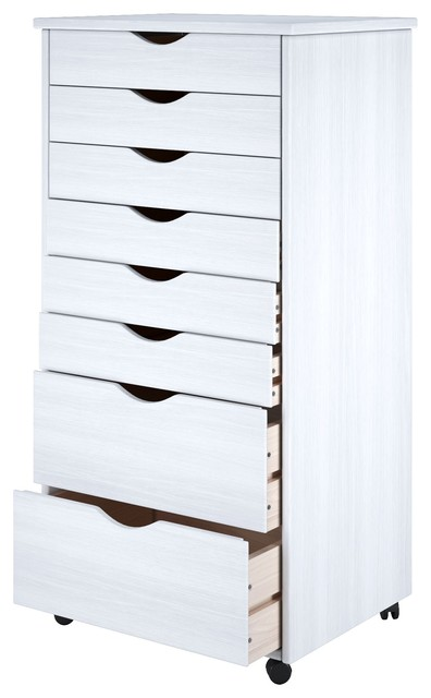 6+2 Drawer Wide Roll Cart White.