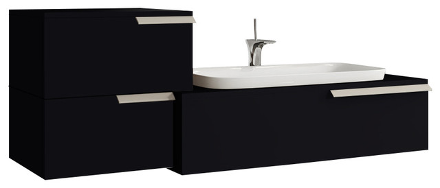 Today With Side Drawer And Ceramic Countertop Washbasin, Glossy Black.