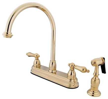 """Polished Brass Two Handle 8"""" Kitchen Faucet with Brass Sprayer KB3752ALBS"""