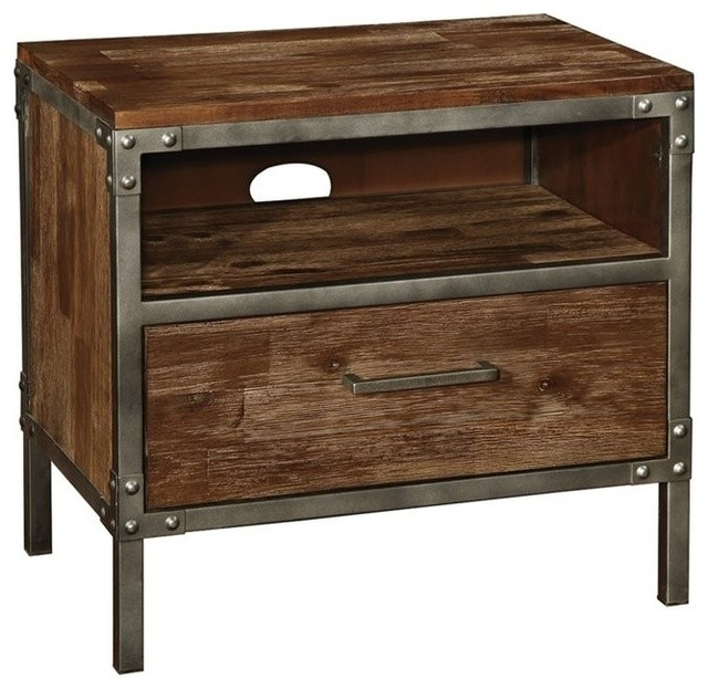 Coaster Arcadia 1-Drawer Nightstand in Weathered Acacia