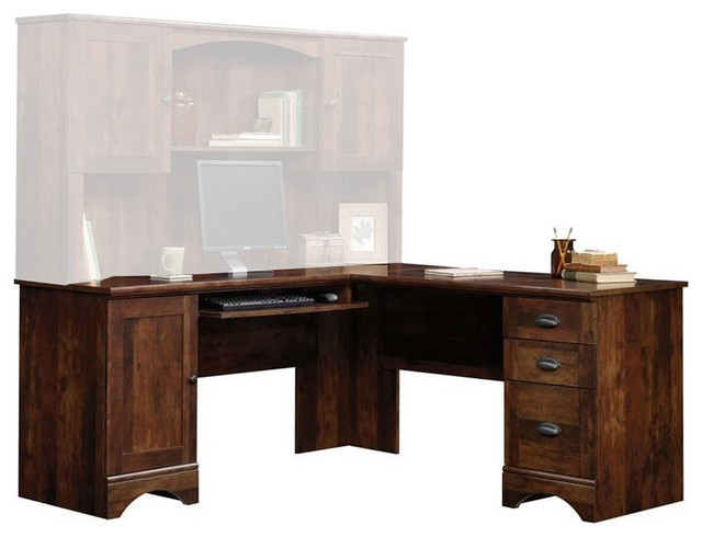 Sauder Harbor View Corner Computer Desk, Curado Cherry.