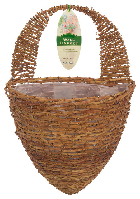 Half hive rustic rattan wall basket tropical greenhouses by jensen byrd co inc - Wicker beehive basket ...