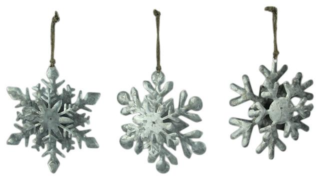 Glistening Galvanized Metal Hanging Snowflake Ornaments 3 Piece Set