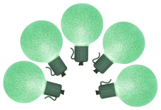 Set Of 10 Battery Operated Sugared Green Led G50 Christmas Lights, Green Wire.