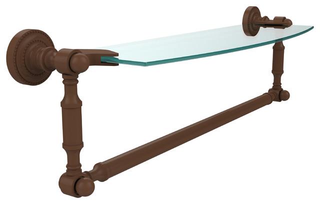 """18""""x5"""" Glass Shelf With Towel Bar, Antique Bronze"""