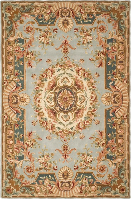 Safavieh savonnerie sav201b blue beige rug victorian for Dining room rugs 9x12