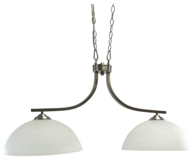 2 light chandelier island light brushed nickel