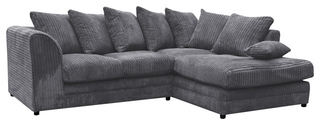 Darcey Grey Corner Sofa Right Facing
