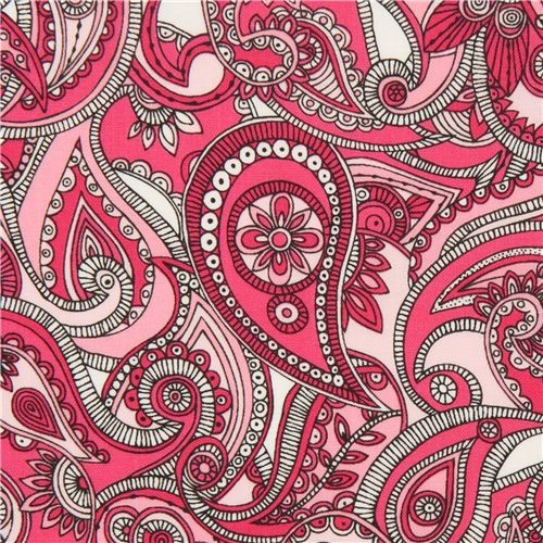 Pink Paisley Pattern And Flower Fabric By Robert Kaufman