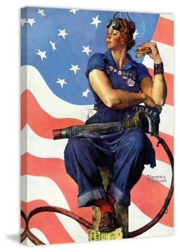"""Marmont Hill Rosie The Riveter Norman Rockwell Painting Print On Canvas, 52""""x40""""."""