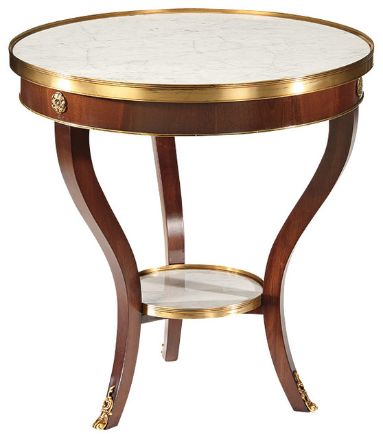 Table with carrera marble top traditional side tables for Table carrera