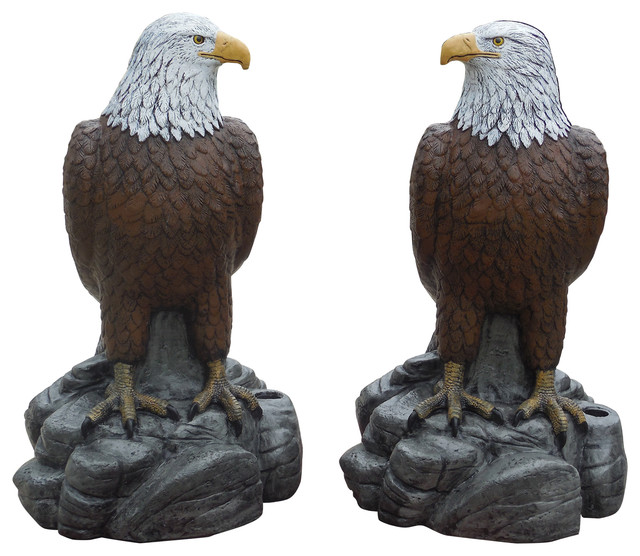 Ordinaire Majestic Eagles, Pair Of Concrete Statues, Detail Painted Finish