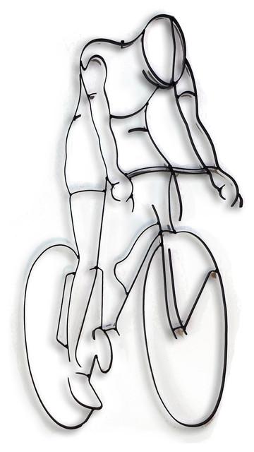 Bike Rider Metal Wall Sculpture.