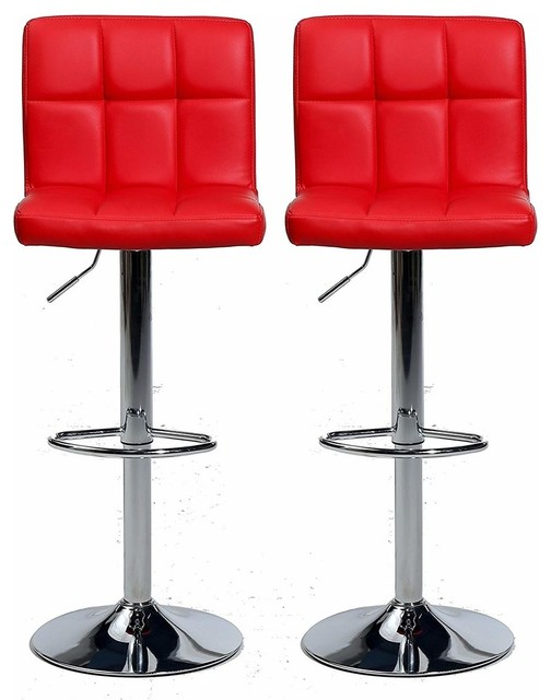 Set Of 2 Bar Stools Faux Leather Back And Footrest Adjustable Swivel Gas Lift Modern Bar Stools And Kitchen Stools By Decor Love