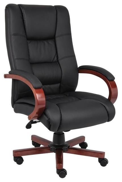 High Back Executive Chair Cherry Wood Finish